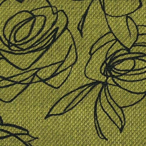 Látky s květy růží RIM25 mechově zelená
