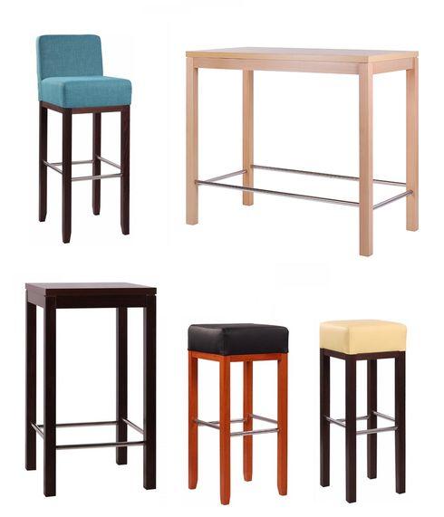 Barové židle a stoly.