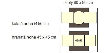 Nohy stolu ROMA 56 cm a stůl s deskou 80 x 80 cm