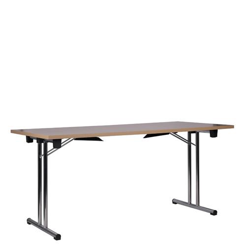 Kovové skládací stoly s dřevěnou deskou