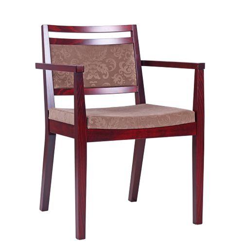 Dřevěné židle do restaurace s čalouněným sedákem a loketní opěrkou