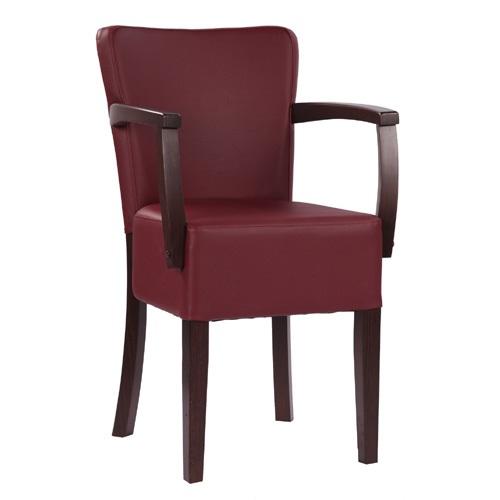 Dřevěná čalouněná židle s loketní podpěrkou