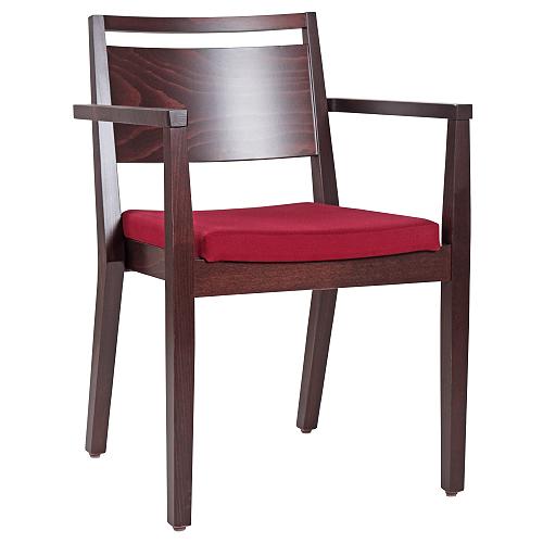Dřevěné židle do restaurace s loketní opěrkou a možností stohování