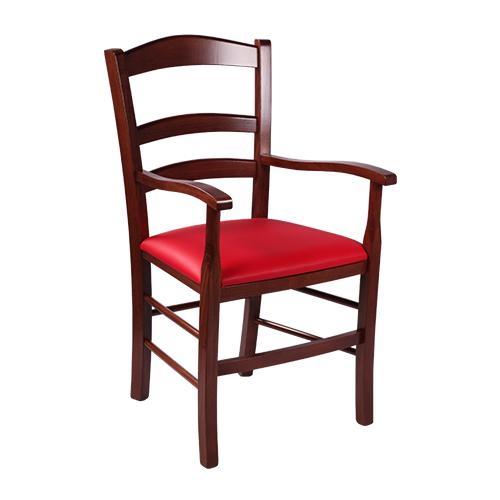 Drevené čalúnené stoličky s lakťovou opierkou