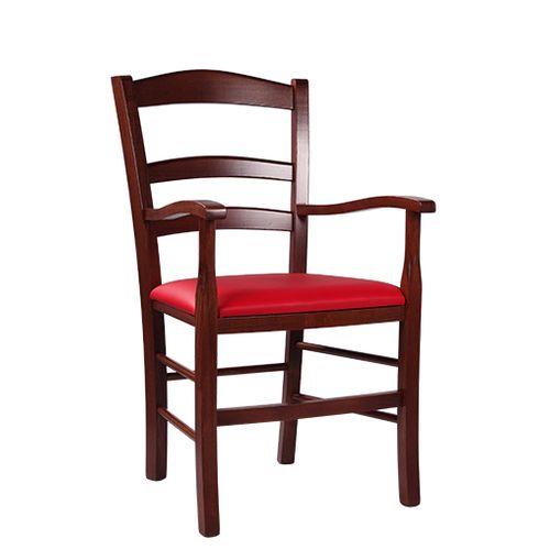 Dřevěné čalouněné židle s loketní opěrkou