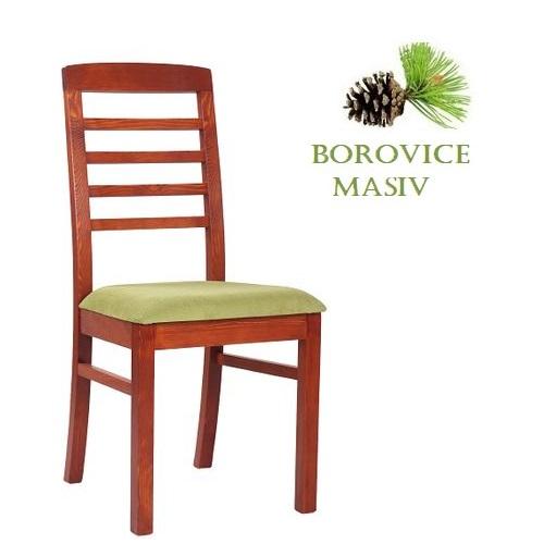 Dřevěné židle  ROBBIE 4P masivní borovice čalouněný sedák