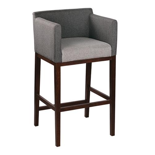 Dřevěné barové židle s čalouněným s opěradlem