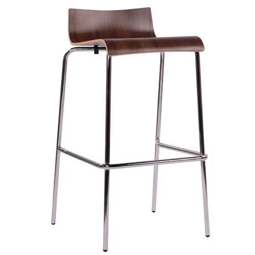 Kovové barové židle s dřevěným sedákem